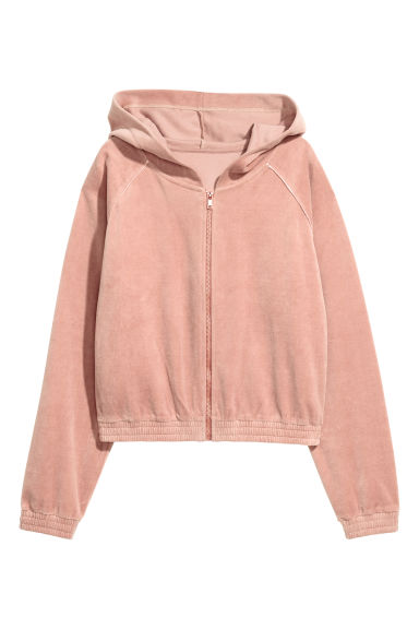 Velour hooded jacket - Powder pink - Ladies | H&M CN