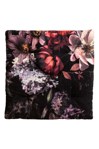 Cuscino per sedia in velluto - Nero/fiori - HOME | H&M IT