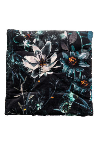 Cotton Velvet Seat Cushion - Dark gray/floral - Home All | H&M CA 1