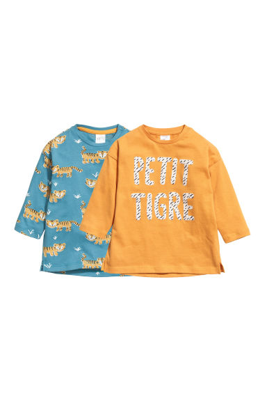 2-pack long-sleeved tops - Turquoise/Tiger -  | H&M CN 1