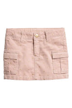 Corduroy cargo skirt - Powder pink/Gold-colour hearts - Kids | H&M CN 2