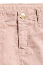 Corduroy cargo skirt - Powder pink/Gold-colour hearts - Kids | H&M CN 3