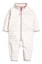 Fleece Jumpsuit - White/light pink/striped - Kids | H&M CA 1
