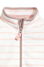 Fleece Jumpsuit - White/light pink/striped - Kids | H&M CA 2