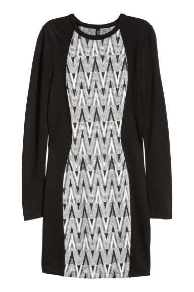 Fitted jersey dress - Black/Jacquard -  | H&M IE