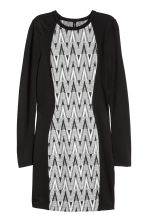 Fitted jersey dress - Black/Jacquard - Ladies | H&M CN 2
