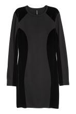 Fitted jersey dress - Black/Velvet - Ladies | H&M IE 2