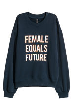 Oversized sweatshirt - Dark blue - Ladies | H&M CN 2