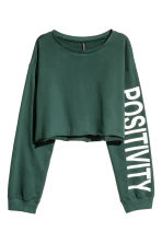 Cropped sweatshirt - Dark green - Ladies | H&M CA 2