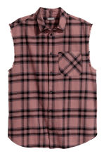 Sleeveless flannel shirt - Pink/Checked - Men | H&M 2