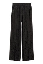 Jacquard-weave trousers - Black/Paisley patterned - Ladies | H&M 2