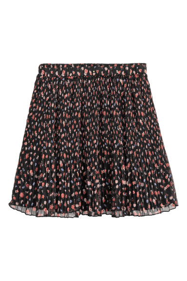 Pleated skirt - Black/Floral - Ladies | H&M