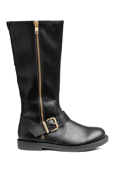 Knee-high biker boots - Black -  | H&M IE