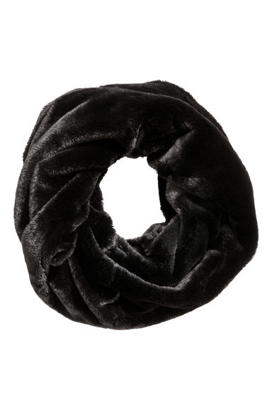 Faux fur tube scarf - Black - Ladies | H&M