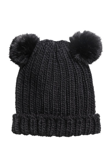 Hat with pompoms - Black - Ladies | H&M