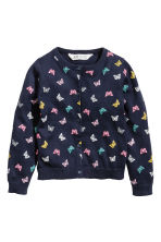 Cotton cardigan - Dark blue/Butterflies - Kids | H&M CN 2