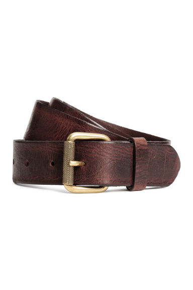 Leather belt - Dark cognac brown - Men | H&M