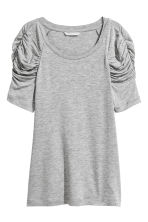 Top with puff sleeves - Grey marl - Ladies | H&M CN 2