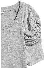 Top with puff sleeves - Grey marl - Ladies | H&M CN 3