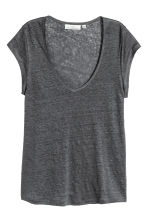 Linen jersey top - Dark grey - Ladies | H&M 2