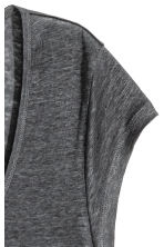 Linen jersey top - Dark grey - Ladies | H&M 3
