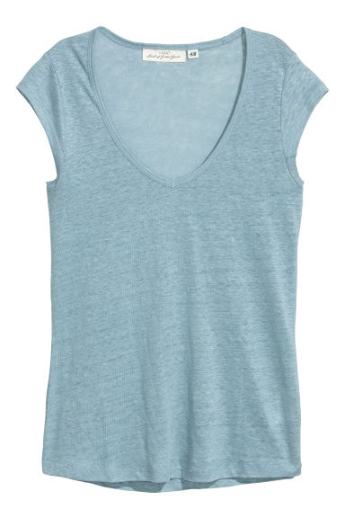 Linen jersey top - Light blue-grey - Ladies | H&M CN 1