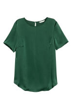 Short-sleeved blouse - Dark green - Ladies | H&M CN 2