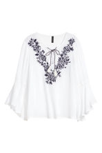 Embroidered blouse - White/Floral -  | H&M CN 2