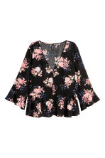 Blouse with flounces - Black/Floral - Ladies | H&M 2