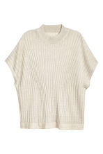 Glittery rib-knit top - Light beige - Ladies | H&M CN 2
