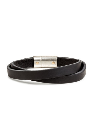 Double-strap leather bracelet - Black - Men | H&M 1