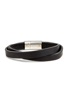 Double-strap leather bracelet