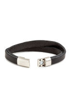 Double-strap leather bracelet - Black - Men | H&M 2