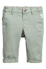 Stretch cotton chinos - Light khaki green - Kids | H&M 1