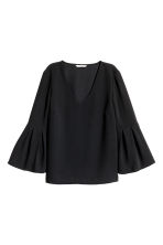 Trumpet-sleeved blouse - Black - Ladies | H&M CN 2
