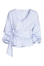 Wrapover cotton blouse - White/Blue striped - Ladies | H&M 2