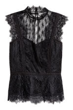 Fitted lace top - Black - Ladies | H&M 2