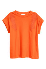 Embroidered top - Orange - Ladies | H&M CN 2