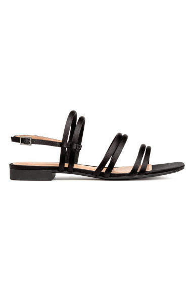 Satin sandals - Black - Ladies | H&M 1