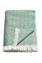 Plaid in misto lana fantasia - Verde/bianco fantasia - HOME | H&M IT 1