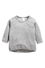 Cotton velour top - Grey marl - Kids | H&M 1