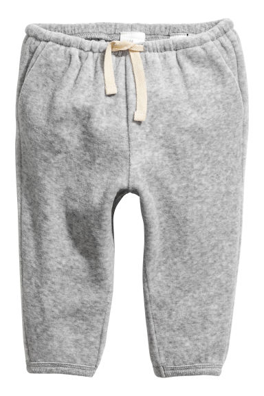 Cotton velour trousers - Grey marl -  | H&M CN 1