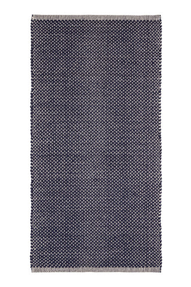 Patterned Cotton Rug - Natural white/dark blue - Home All | H&M CA