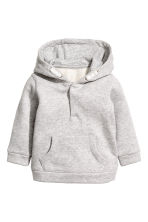 Hooded cotton jacket - Light grey marl -  | H&M 1
