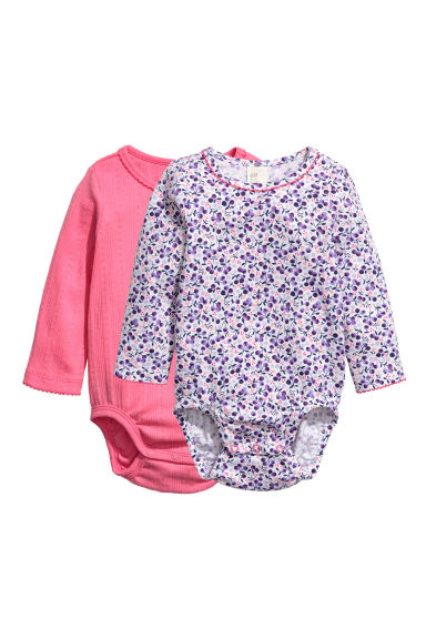2-pack bodysuits - Pink/Patterned - Kids | H&M CN 1