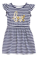 Dress with frilled sleeves - White/Dark blue/Striped - Kids | H&M 2