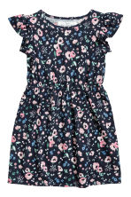 Dress with frilled sleeves - Dark blue/Floral - Kids | H&M 2