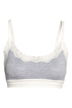 Soft ribbed microfibre bra top - Grey marl - Ladies | H&M 2