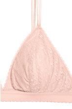 Non-wired lace triangle bra - Powder pink - Ladies | H&M CA 3