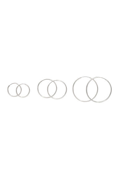 3 pairs of hoop earrings - Silver - Ladies | H&M 1